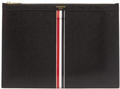 Pebbled-leather Tablet Pouch - Mens - Black