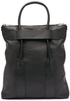 Foldable Grained-leather Tote Bag - Mens - Black