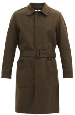 Single-breasted Wool Trench Coat - Mens - Dark Green