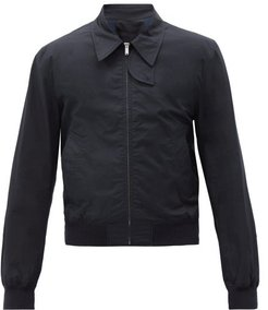 Harness-strap Cotton Trench Bomber Jacket - Mens - Navy