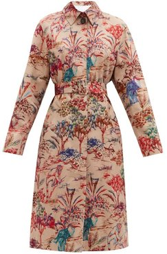 Jungle-print Single-breasted Cotton Trench Coat - Womens - Beige Multi