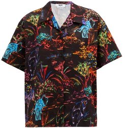 Jungle-print Cotton Bowling Shirt - Womens - Black Multi