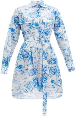 Jungle-print Cotton Shirt Dress - Womens - Blue White