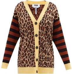 Leopard-jacquard Knit Cardigan - Womens - Yellow Multi
