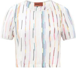 Striped Cropped-hem T-shirt - Womens - White Multi