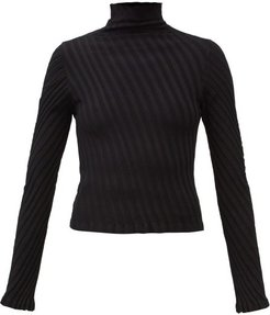 Diagonal Rib-knitted Jersey Sweater - Womens - Black