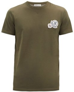 Double-logo Cotton T-shirt - Mens - Khaki