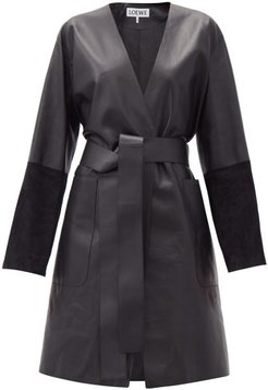 Suede-panelled Leather Wrap Coat - Womens - Black