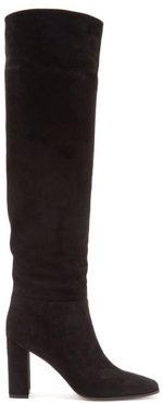 85 Square-toe Knee-high Suede Boots - Womens - Black