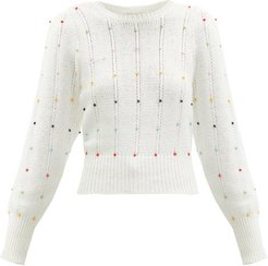 Beaded Cable-knit Cotton-blend Sweater - Womens - White