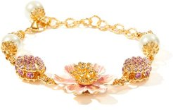 Crystal And Faux-pearl Embellished Metal Bracelet - Womens - Gold