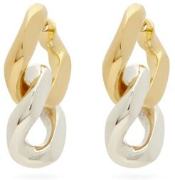 Curb-link 18kt Gold-plated Silver Earrings - Womens - Silver Gold