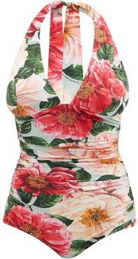 Floral-print Ruched Halterneck Swimsuit - Womens - Pink Print
