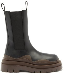 Bv Tire Waved-sole Leather Boots - Womens - Black Brown