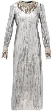 Crystal-embellished Lamé Dress - Womens - Silver