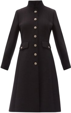 Logo-button Single-breasted Wool-blend Coat - Womens - Black