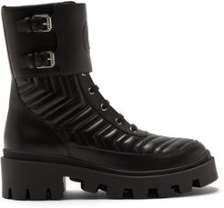 Chevron-quilted Leather Boots - Womens - Black