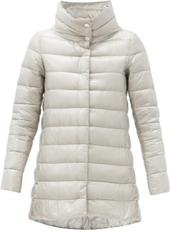 Amelia Quilted Down Coat - Womens - Silver