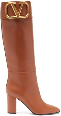 Supervee V-logo Knee-high Leather Boots - Womens - Tan