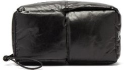 Padded Intrecciato Leather Wash Bag - Mens - Black