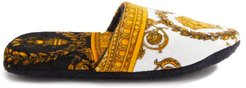 Baroque-print Cotton-terry Slippers - Mens - White Gold