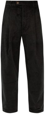 High-rise Straight-leg Cotton-corduroy Trousers - Mens - Green