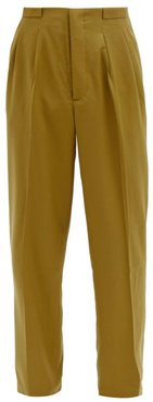 Grant Pleated Wool Trousers - Mens - Khaki