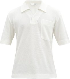 Waffle-knit Cotton Polo Shirt - Mens - Cream