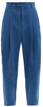 Knife-pleated Denim Trousers - Mens - Blue