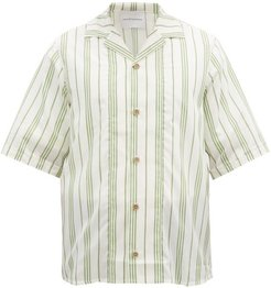 Cuban-collar Striped Cotton-blend Shirt - Mens - Green Multi