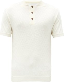 Diamond Garter-stitched Merino Polo Shirt - Mens - White
