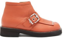Fringed And Buckled Leather Ankle Boots - Womens - Tan