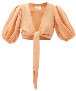 Pouf Puff-sleeved Cropped Linen-blend Blouse - Womens - Orange