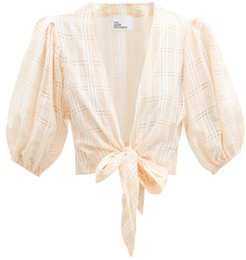 Tie-front Puff-sleeve Check Cotton-blend Blouse - Womens - Orange Stripe
