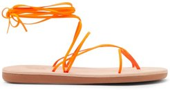 String Wraparound Rubber And Leather Sandals - Womens - Orange