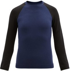 Albane Long-sleeved Merino Wool-blend Top - Womens - Black Navy