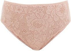 Tali High-rise Floral-lace Briefs - Womens - Nude