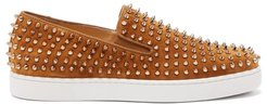 Roller-boat Spike-embellished Suede Trainers - Mens - Yellow Gold