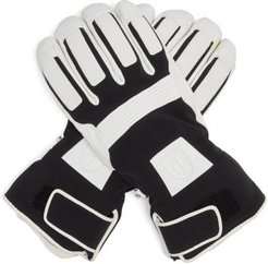 Dane Jersey And Leather Ski Gloves - Mens - Black Multi