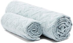 Set Of Two Rex Zigzag Cotton-terry Towels - Light Blue