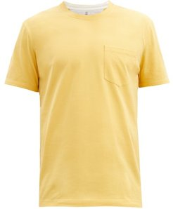 Patch-pocket Cotton-jersey T-shirt - Mens - Yellow
