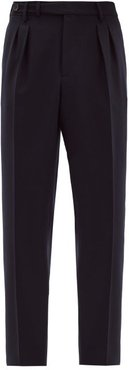 Adjustable-waist Tailored Wool-twill Trousers - Mens - Navy