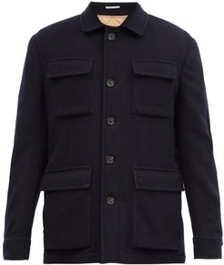 Single-breasted Cashmere Coat - Mens - Navy