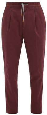Stretch Cotton-blend Chino Trousers - Mens - Burgundy