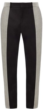 Colour-block Wool And Mohair-blend Suit Trousers - Mens - Black