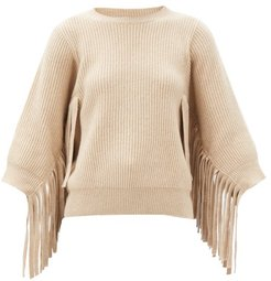 Fringed Rib-knitted Cashmere-blend Sweater - Womens - Cream