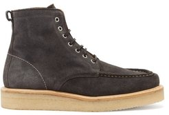 Suede Lace-up Boots - Mens - Grey