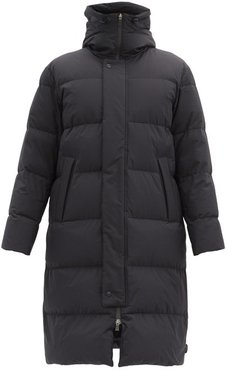 Hooded Quilted-shell Coat - Mens - Black