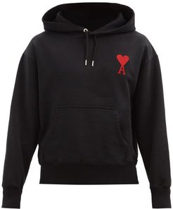 Logo-embroidered Cotton-jersey Hooded Sweatshirt - Mens - Black