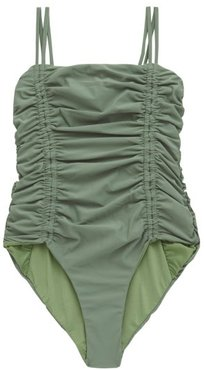 Chandler Tie-straps Ruched Swimsuit - Womens - Green